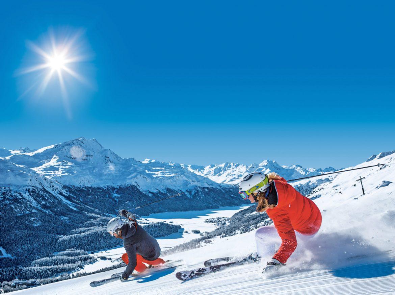 Sciare sulle piste di Sankt Moritz