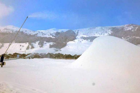 Produzione della neve artificale a Livigno