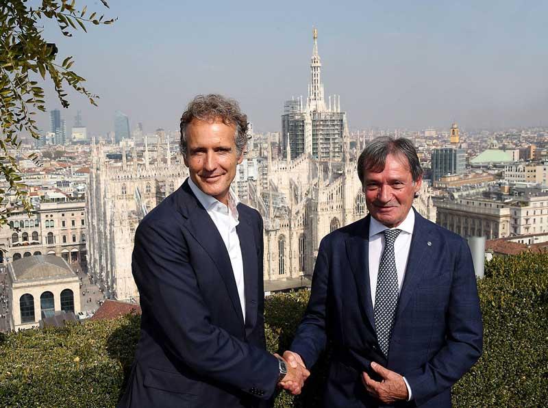 Roda e Benetton a MIlano, conferenza stampa FISI