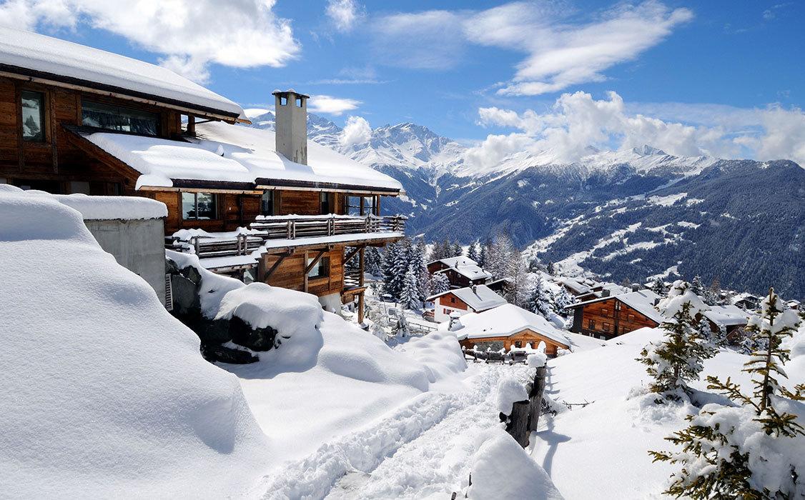 Veduta invernale di Verbier, Canton Vallese, Svizzera