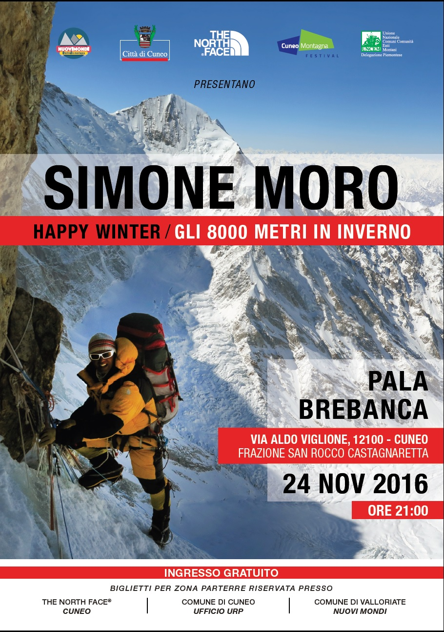 Locandina serata con Simone Moro a Cuneo