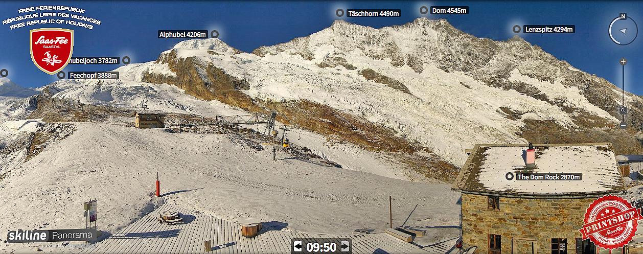 Saas Fee, Svizzera, Canton Vallese - Webcam 3 ottobre 2016
