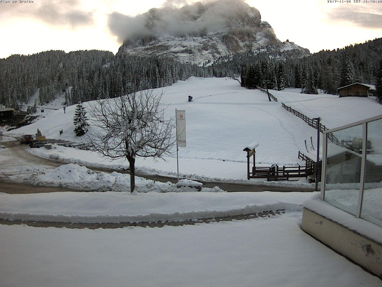 Neve in Val Gardena - Webcam Plan de Gralba, 8 novembre 2017