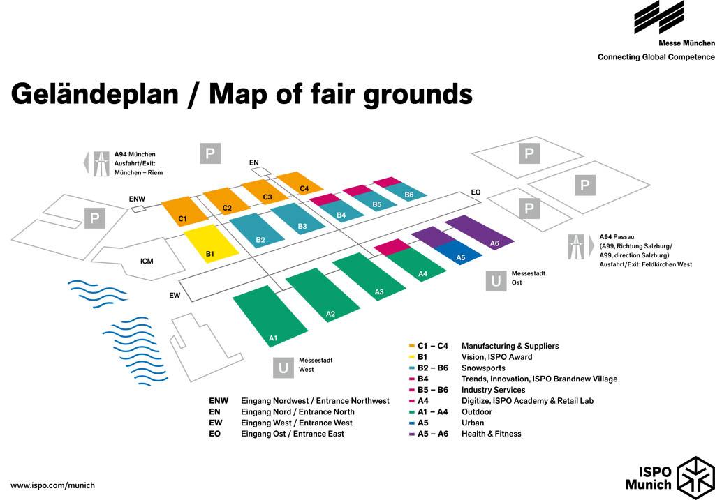 La mappa dei padiglioni di ISPO 2018