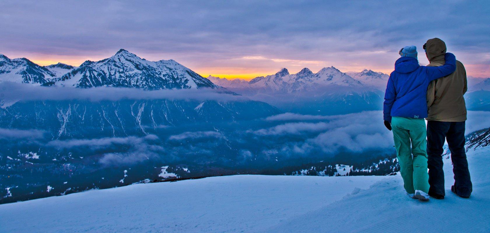 Tramonto invernale sulle Alpi di Lenzerheide
