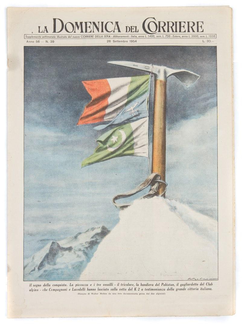 26 settembre 1954, la copertina della Domenica del Corriere è dedicata alla conquista del K2