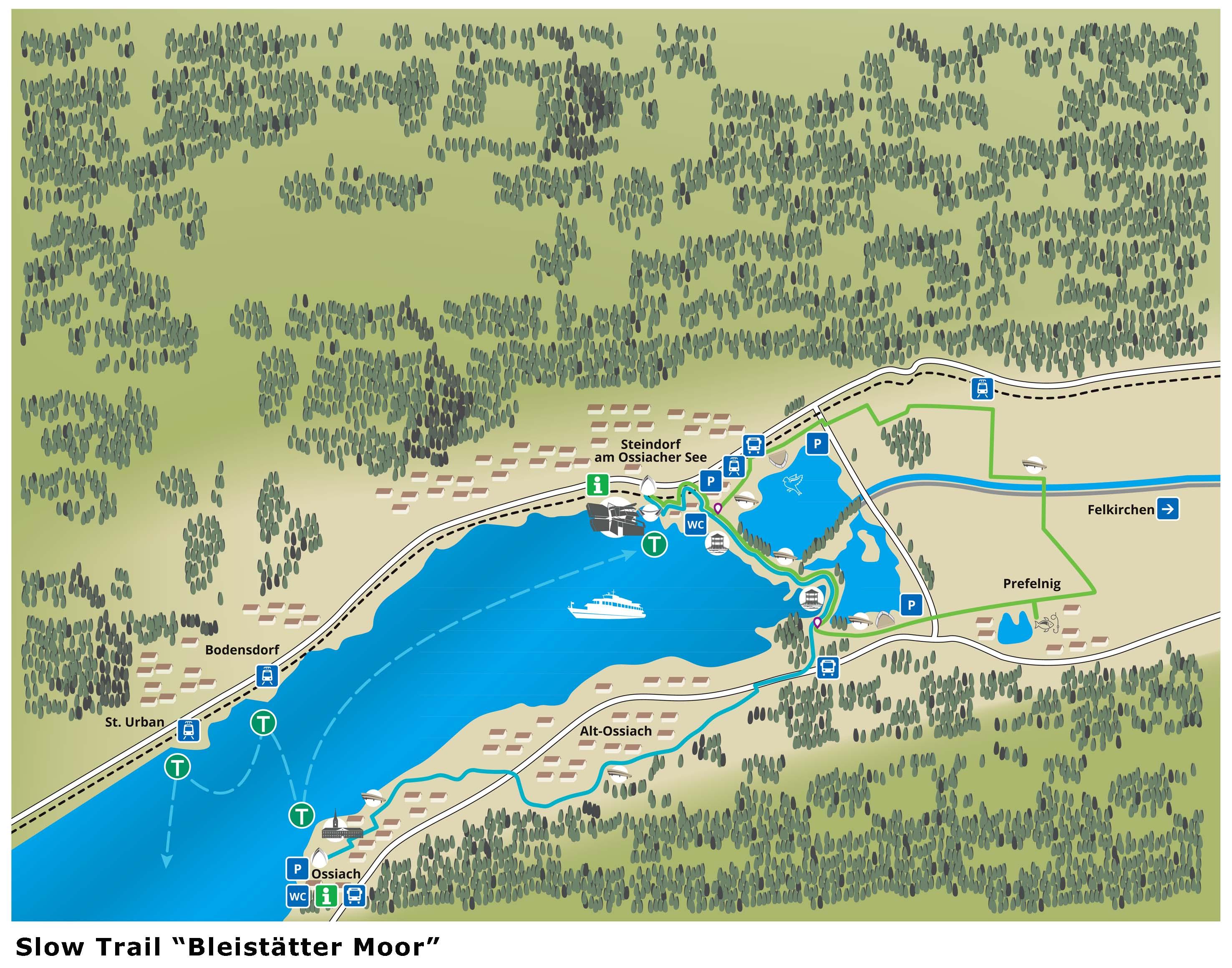 Mappa Villach Slow Trail Bleistätter Moor