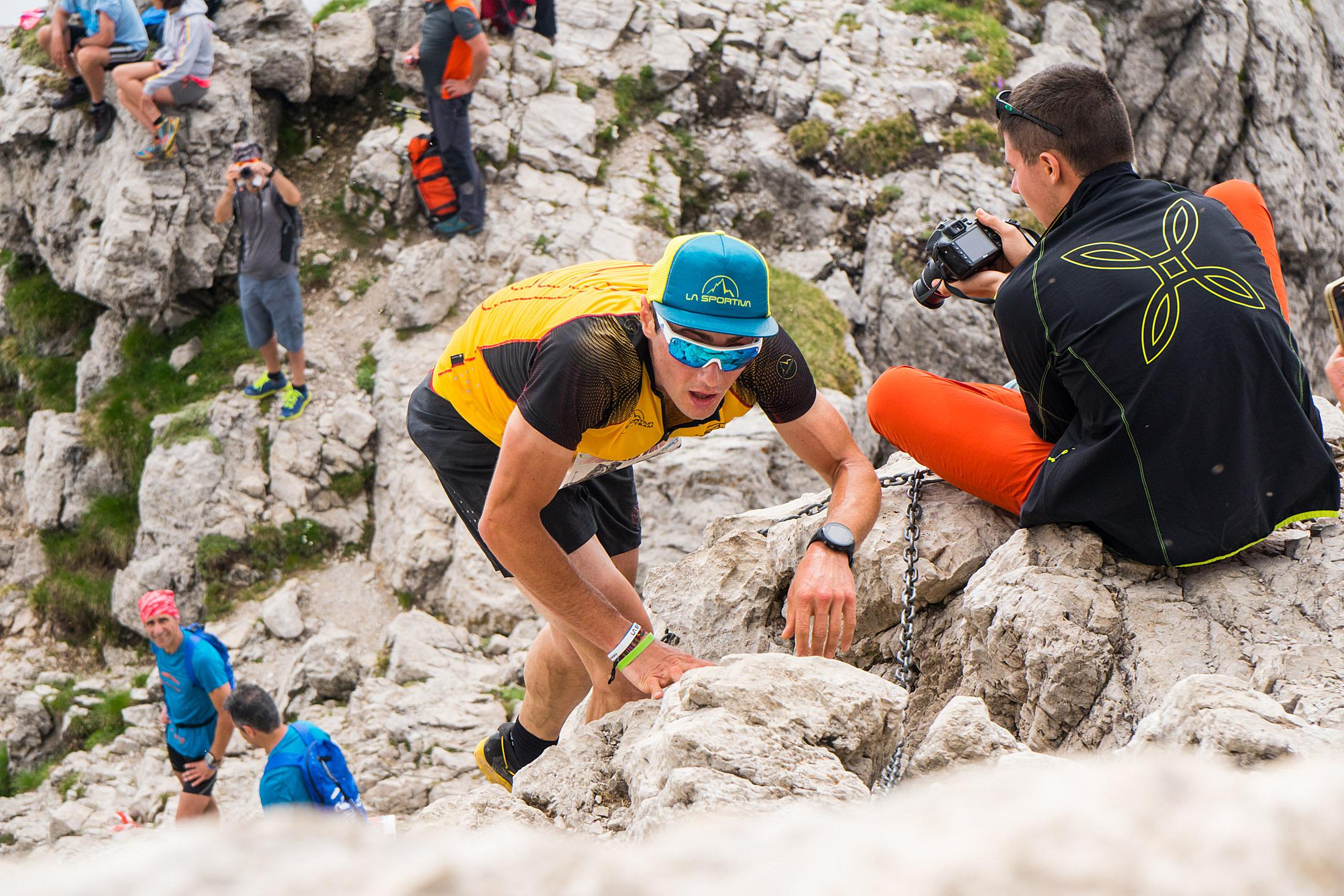 Michele Boscacci in azione alla Grignetta Vertical