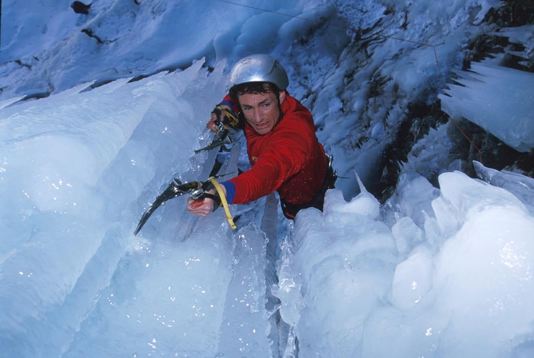 Steve Haston ice climbing a Courmayeur