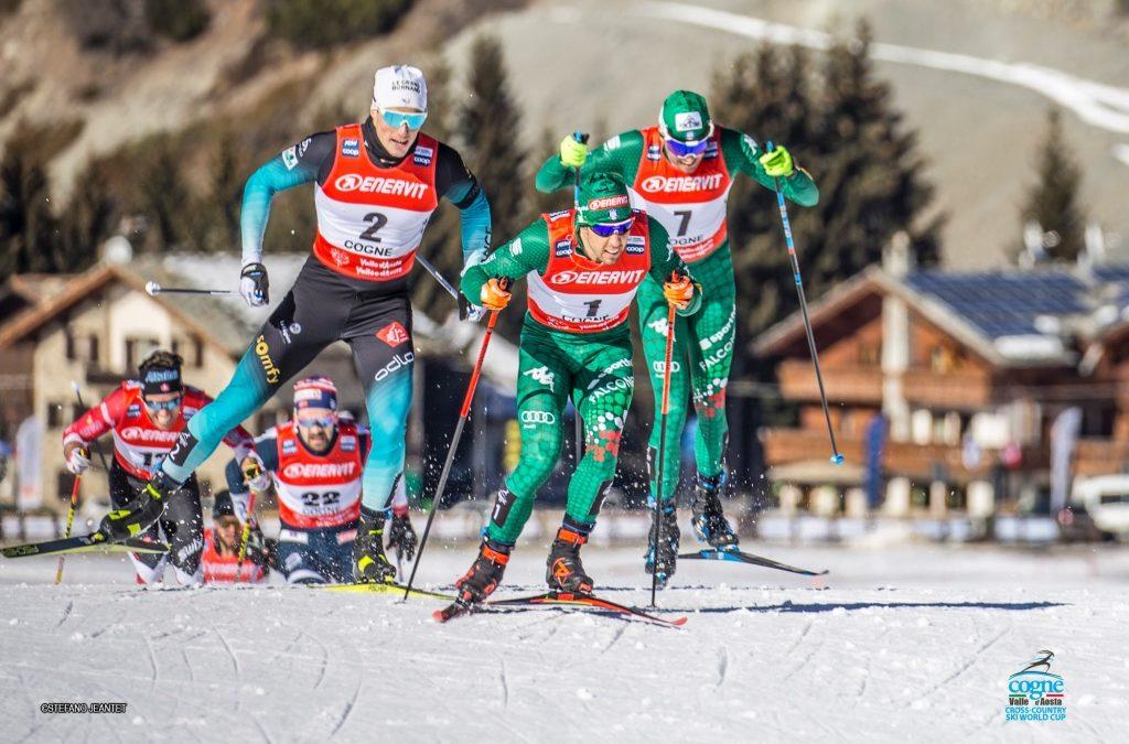 Pellegrino-De Fabiani, doppietta nella sprint di sci di fondo a Cogne