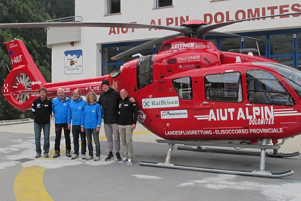 Marc Gisin ringrazia l'Aiut Alpin della Val Gardena
