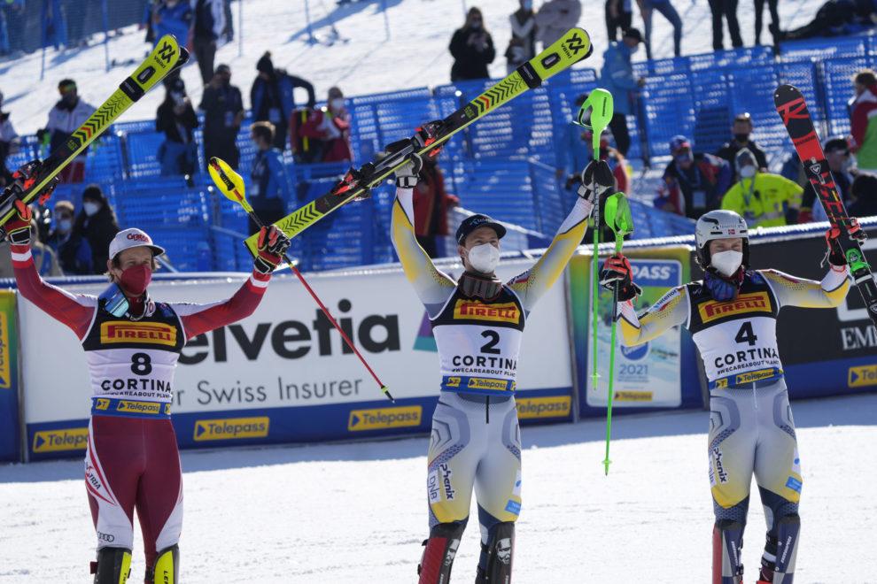 Cortina 2021 Alpine Ski World Championships.  Adrian Pertl (AUT) Sebastian Johan Foss Solevåg (NOR) Henrik Kristoffersen (NOR) Cortina d'Ampezzo 21/02/2021 Photo: Pentaphoto Gio Auletta