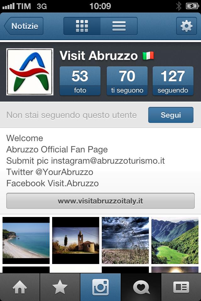 E' attivo Yourabruzzo, profilo social dell'Abruzzo su Instagram