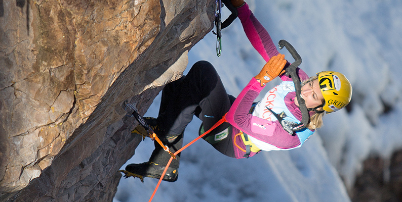 Angelika Rainer all'Ice Festival di Ouray