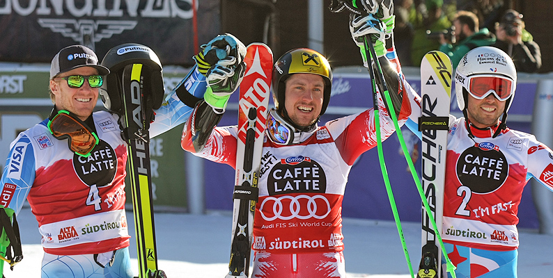 Marcel Hirscher vince lo slalom gigante dell'Alta Badia