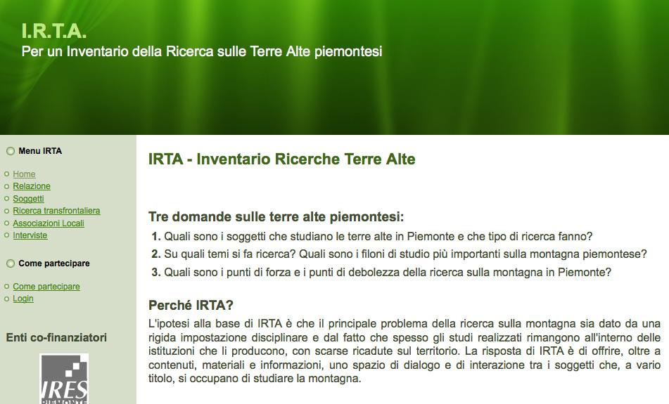 IRTA, raccolta di studi sulla montagna piemontese, è on line