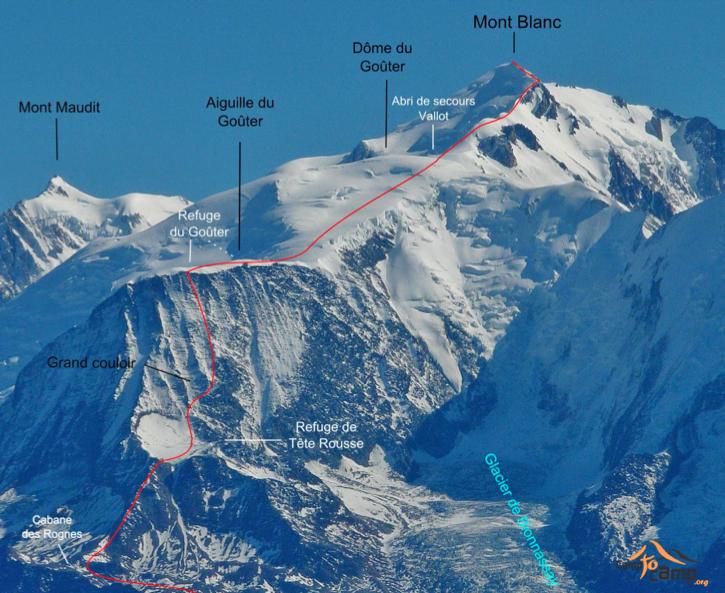 Monte Bianco: la via del Goûter la più pericolosa delle Alpi